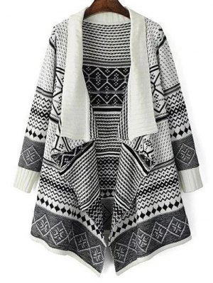 Jacquard Knit Draped Front Cardigan - White