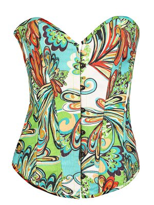 Lace Up Butterfly Printed Corset - Green