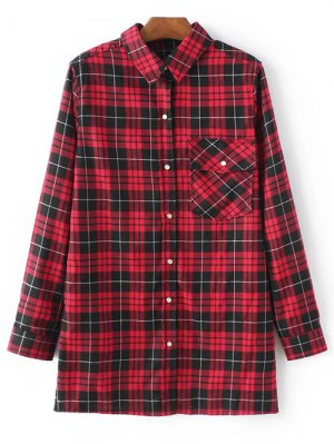 Checked Embroidered Shirt - Red