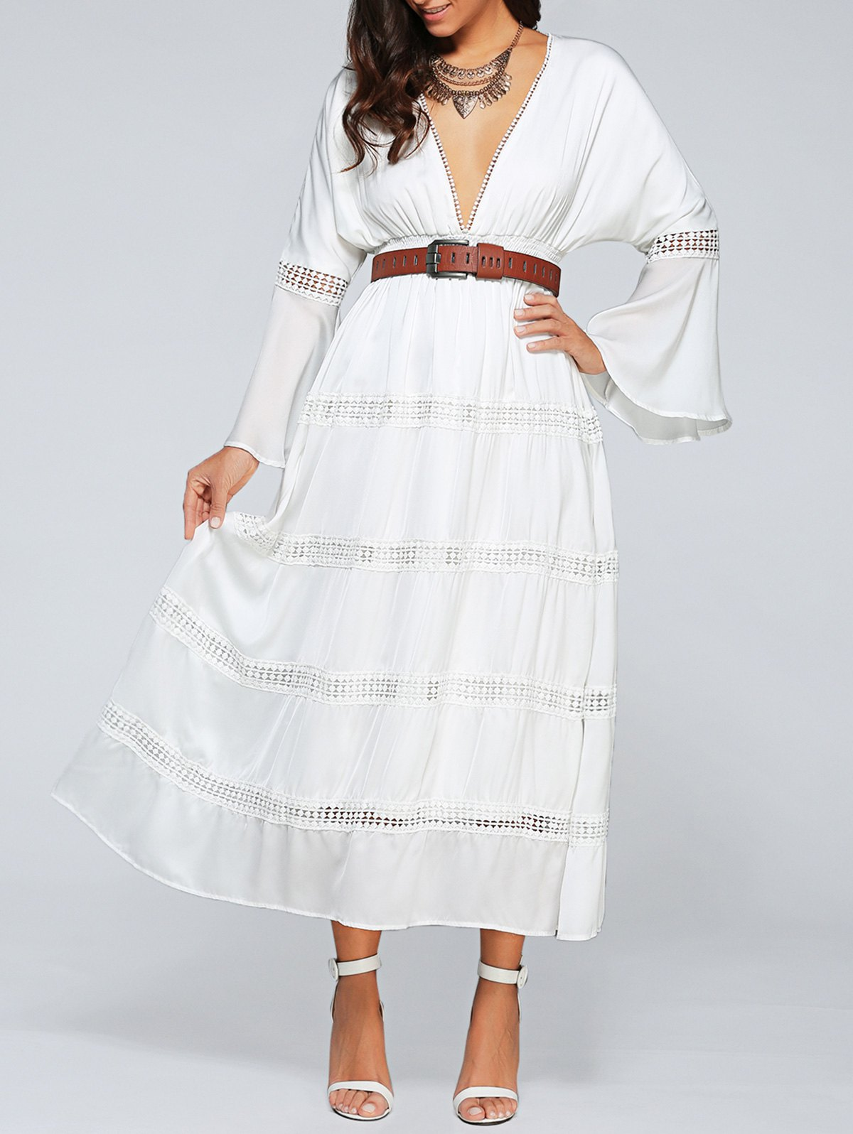 Plunging Neck Flare Sleeve Belted Hollow Out Dress