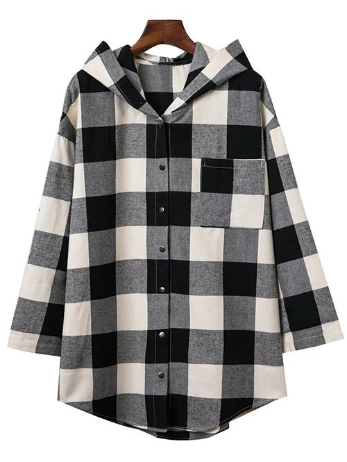 Hooded Oversized Plaid Shirt 195920702