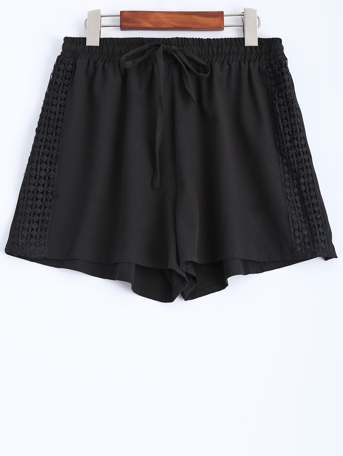 String Black Lace Spliced Shorts