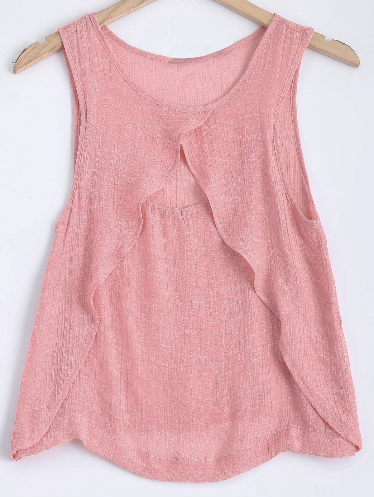 Round Neck Layers Cut Out Tank Top