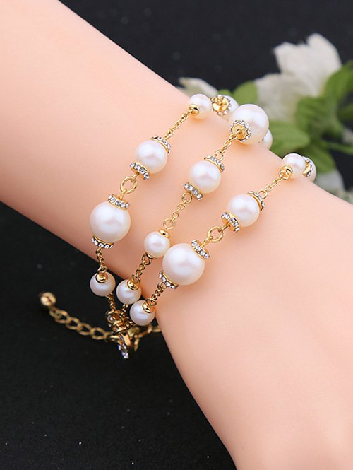 Rhinestone Faux Pearl Circle Layered Bracelet