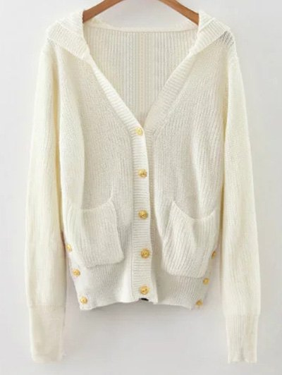 Buttons Hooded Cardigan