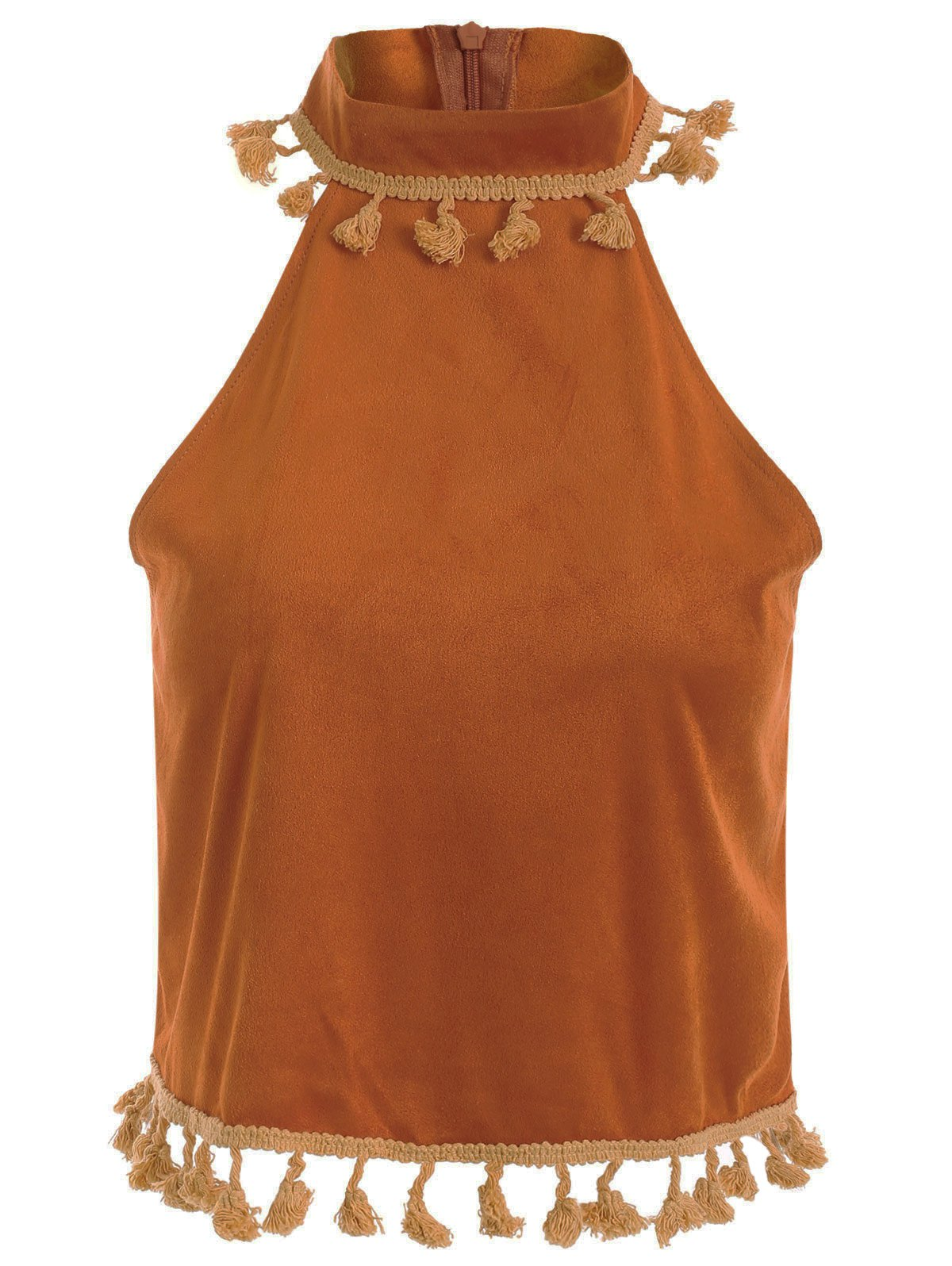 Stand Neck Vintage Tassel Faux Suede Tank Top