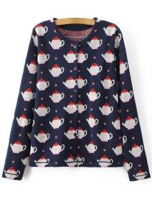Teapot Jacquard Knit Cardigan