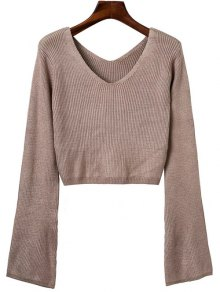 Flared Sleeve Cropped Sweater