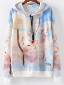 Cartoon Mouse Print Drawstring Hoodie - Multi L