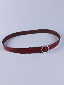 Buy Round Pin Buckle Faux Leather Belt WINE RED