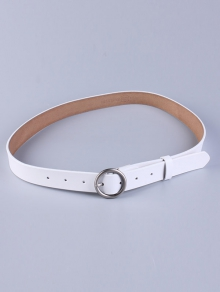Buy Round Pin Buckle Faux Leather Belt WHITE