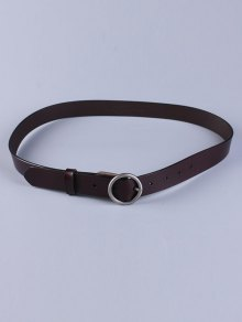 Round Pin Buckle Faux Leather Belt