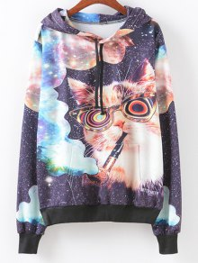 Front Pocket Smoking Cat Print Hoodie - M