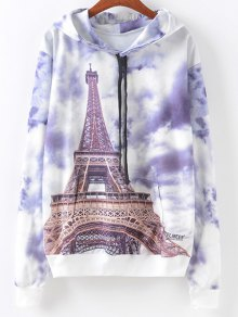 Front Pocket  Eiffel Tower Print Hoodie