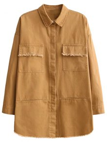 Flap Pockets Embroidered Overshirt - Yellow M