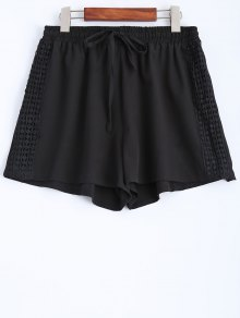 Black Lace Spliced Mid-Waist String Shorts - Black