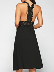Racerback Lace Midi Dress - Black