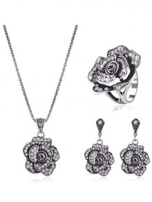 Rhinestone Floral Jewelry Set