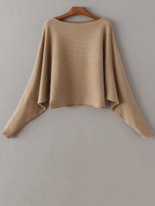 Batwing Sleeve Boat Neck Sweater
