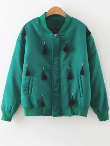 Fringed Bomber Jacket - Green L