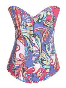 Lace Up Butterfly Printed Corset - Blue