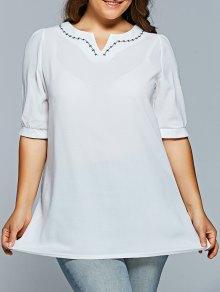 V Neck Half Sleeve Plus Size Top - White Xl