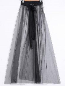 See-Through Slit Skirt - Black