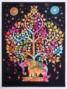 Tree Elephant Print Beach Square Throw