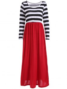 Striped Maxi Splice Dress - Black And White And Red Xl
