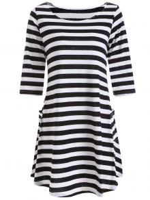 A Line Striped Dress With Pocktes - White And Black M