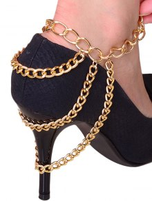 Layered Chain Design High Heels Boot Anklet - Golden