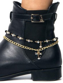 Rhinestone Layered Boot Anklet