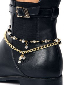 Rhinestone Layered Boot Anklet - GOLDEN
