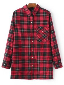 Checked Embroidered Shirt - Red L