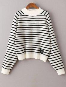 Striped Raglan Sleeve Sweater - White