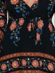 Printed Drawstring Plunging Neck Dress - BLACK S