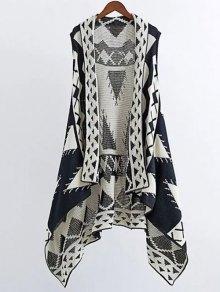 Knitting Printed Cape Waistcoat - Black