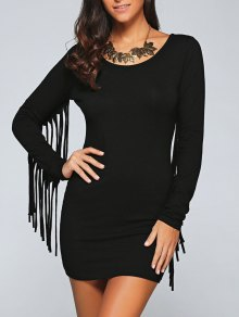 Long Fringe Bodycon Dress - Black L