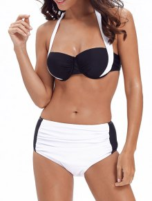 Push Up Halter Color Block Bikini - White M
