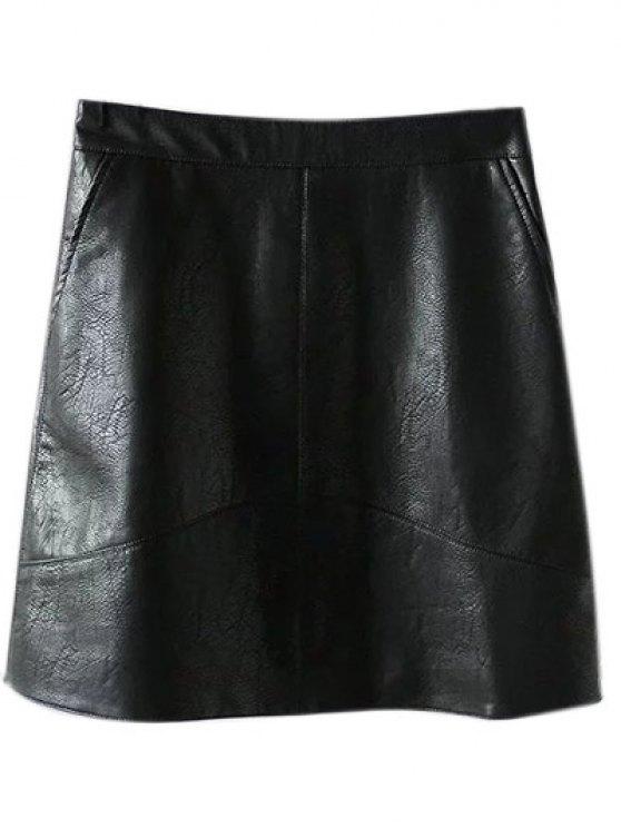Una línea de cuero de la PU mini falda - Negro M