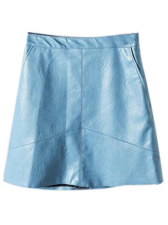 Una línea de cuero de la PU mini falda - Azul claro M