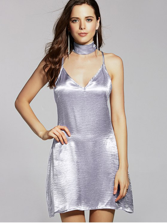 best Pure Color Cami Satin Dress - SILVER M