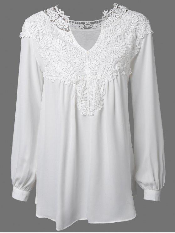 women Crochet Floral Long Sleeve Blouse - WHITE M