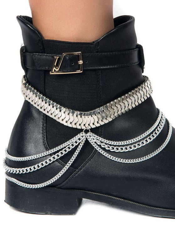 affordable Multifunctional Snake Chain Layered Boot Anklet - SILVER