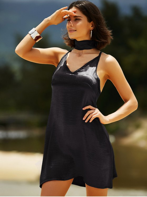 Pure Color Cami Satin Dress - BLACK L Mobile