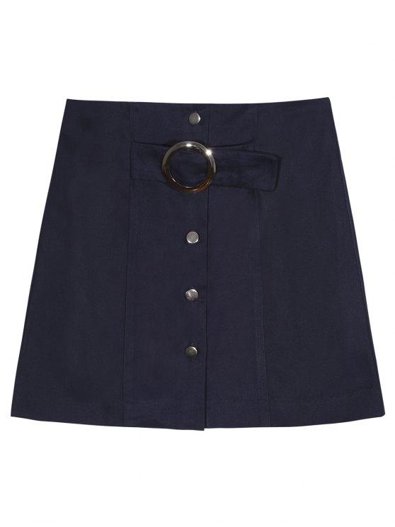 Una línea de un solo pecho de la falda - Azul Purpúreo M