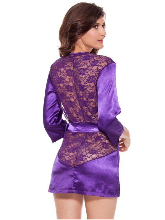 Cut Out Lace Spliced Wrap Sleepwear - PURPLE 2XL Mobile