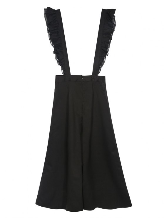 Flounced Culotte Overalls - BLACK M Mobile