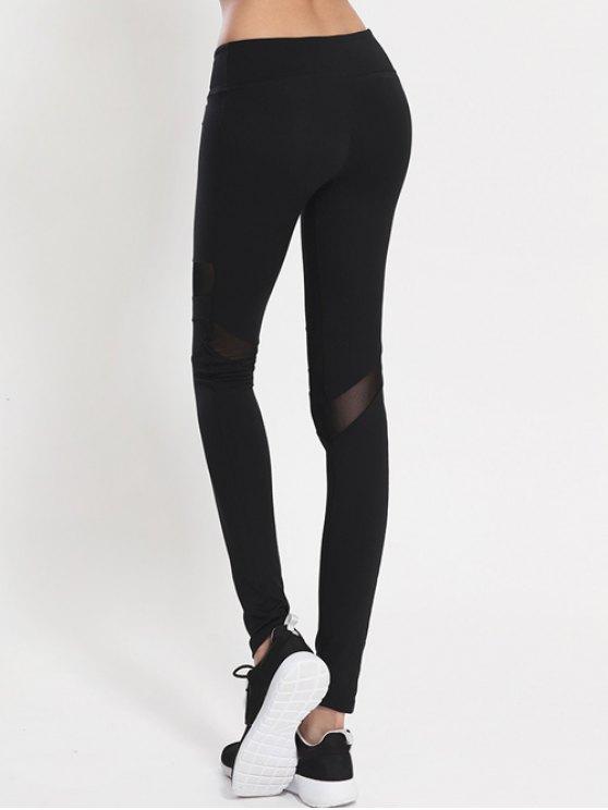 Mesh Panel Leggings - BLACK M Mobile