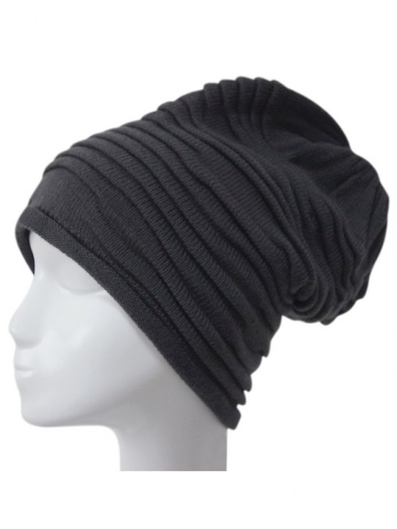 women's Casual Ruched Knitted Hat - DEEP GRAY
